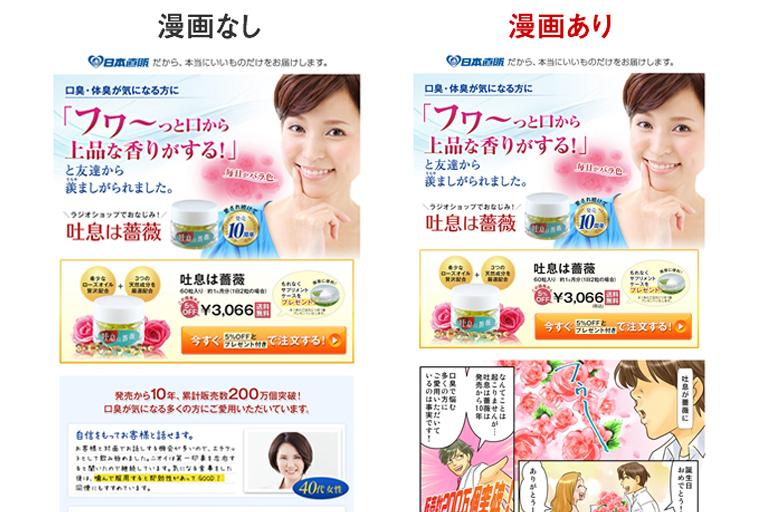 【成功実績】日本直販様 マンガあり・なしABテスト